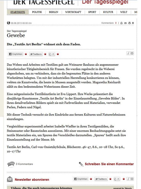 "Die ""Textile Art Berlin"" widmet sich dem Faden."