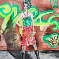 punky girl_ Gouache